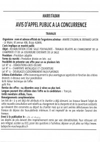 AVIS D'APPEL PUBLIC A LA CONCURRENCE: TRAVAUX CHARPENTE ET COUVERTURE SALLE POLYVALENTE