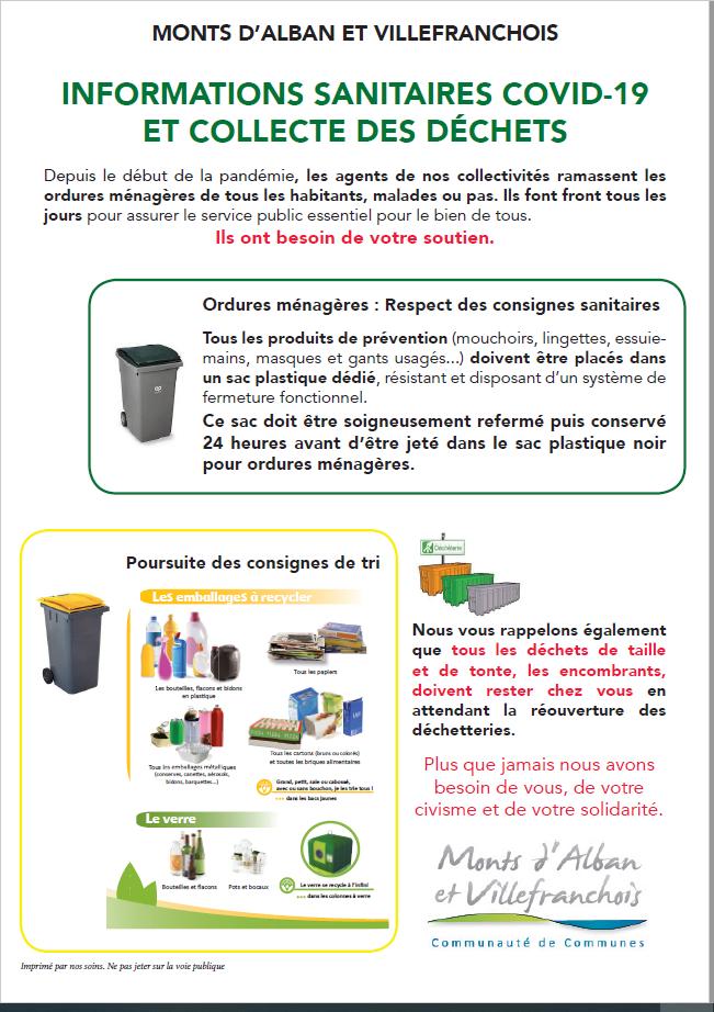 Informations sanitaires COVID-19 de la communauté des communes des Monts d'Alban et du Villefranchois et collecte des déchets